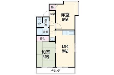 上尾 徒歩30分2階2DK 賃貸マンション