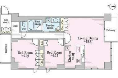 リージア経堂テラスガーデン4階2LDK 賃貸マンション
