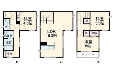 Peace Ami Court1-3階3LDK 賃貸一戸建て